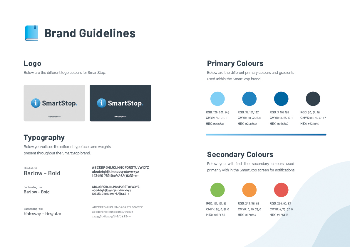 Image with SmartStops brand guidelines, it covers the colours, logos and typography