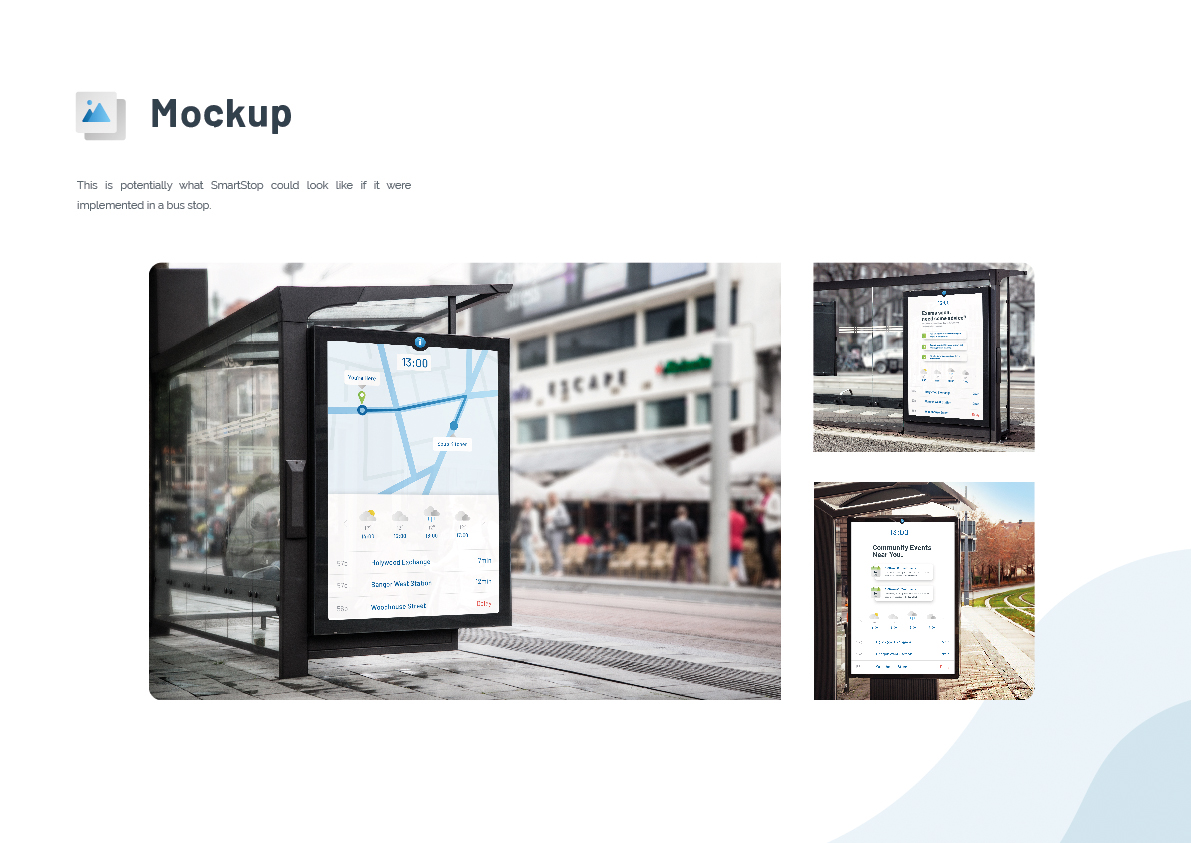 Image of real life mockups of the SmartStop application