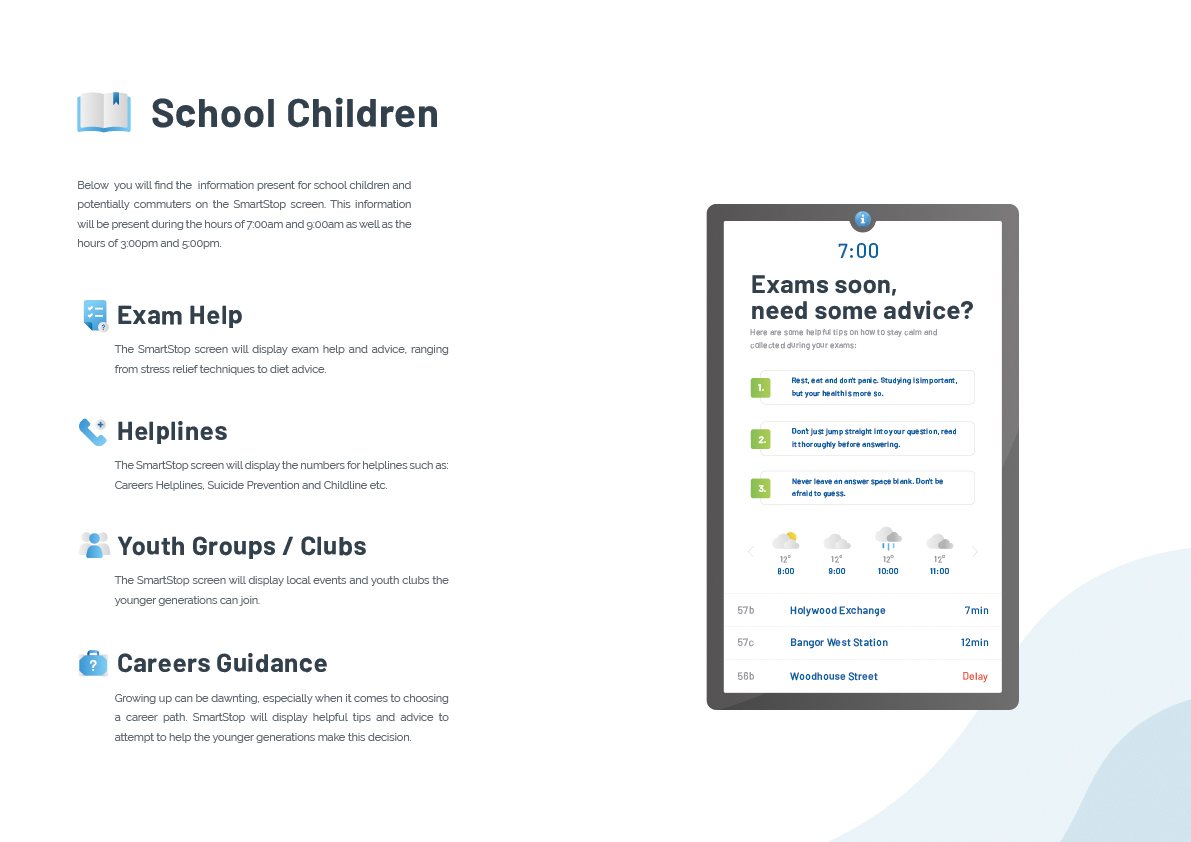Image that shows the areas that SmartStop will help School Children. These areas include: exam help, helplines, youth groups and career guidance