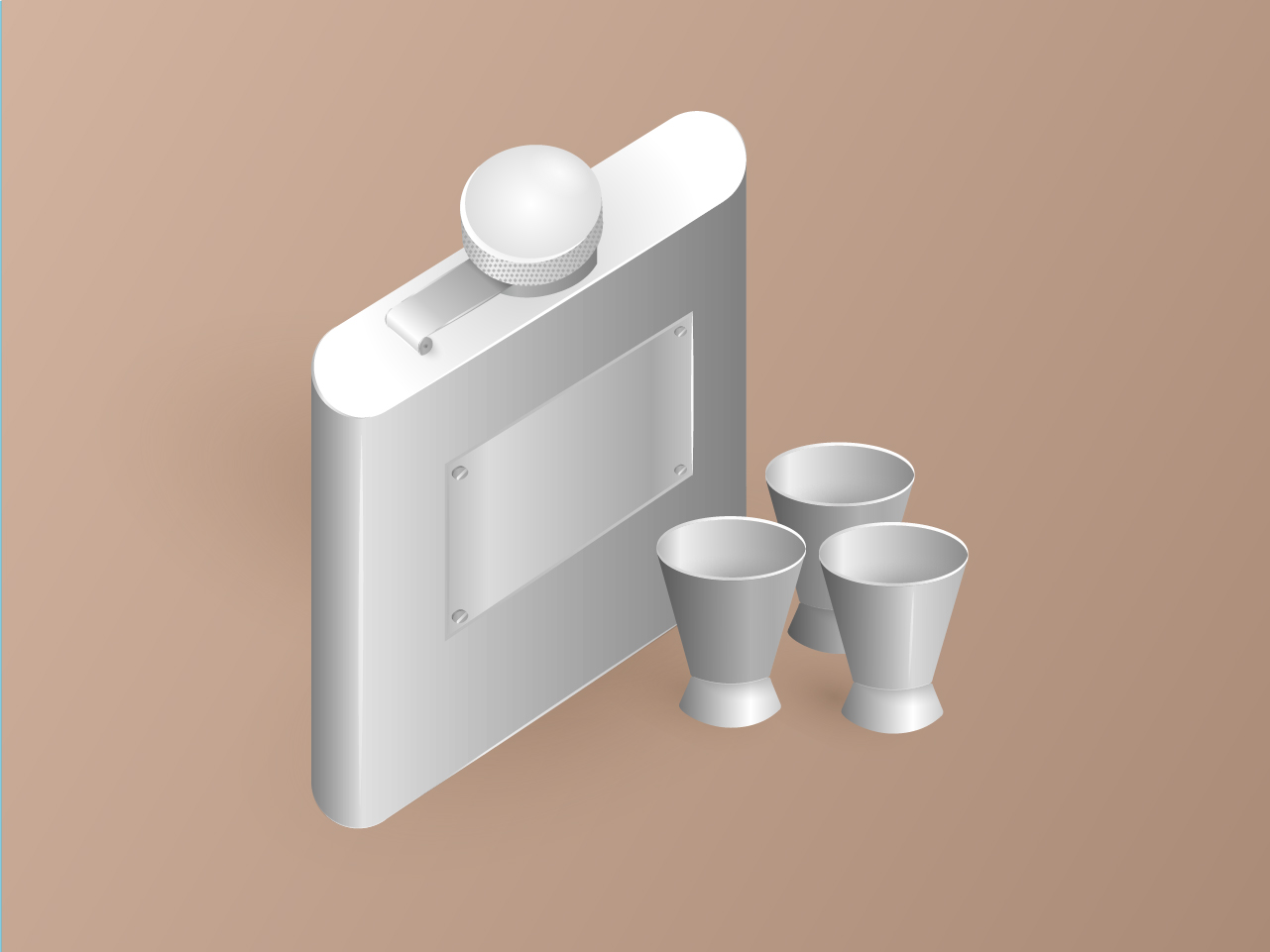 Illustration of a hip flask and measuring glasses