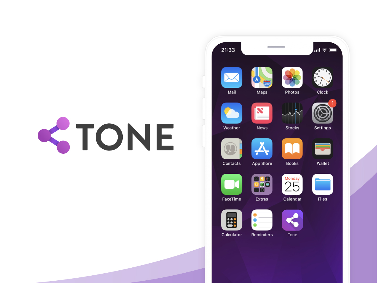 Image with a logo variant 2 for an app called Tone
