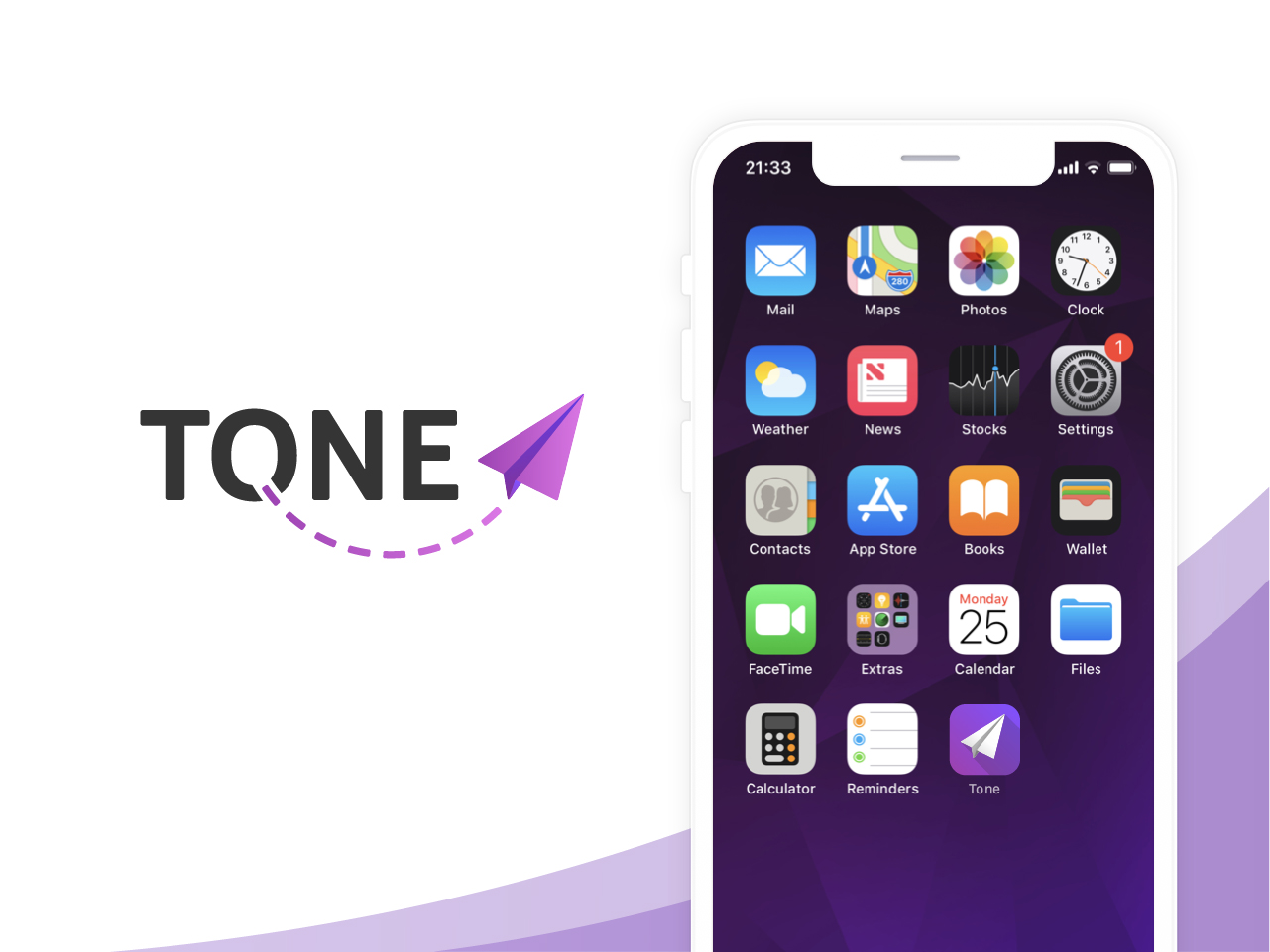 Image with a logo variant 1 for an app called Tone